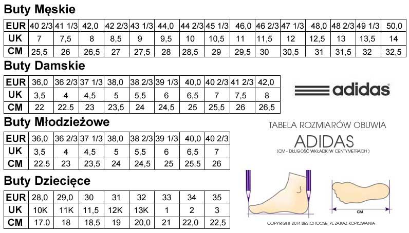 adidas buty junior tabela